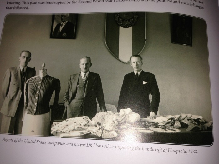 Agents of the United States companies and mayor Dr. Hans Alver inspecting the handicraft of Haapsalu, 1938. Picture is taken from my copy of the book.