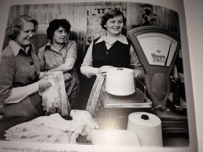 Lace knitters of UKU craft cooperative in the 1980s: master Irene Kaljas, controller of technical quality, Ilme Sintal and knitter, accountant and, later master knitter, Maiva Dunkel. Picture is taken from the copy of my book.