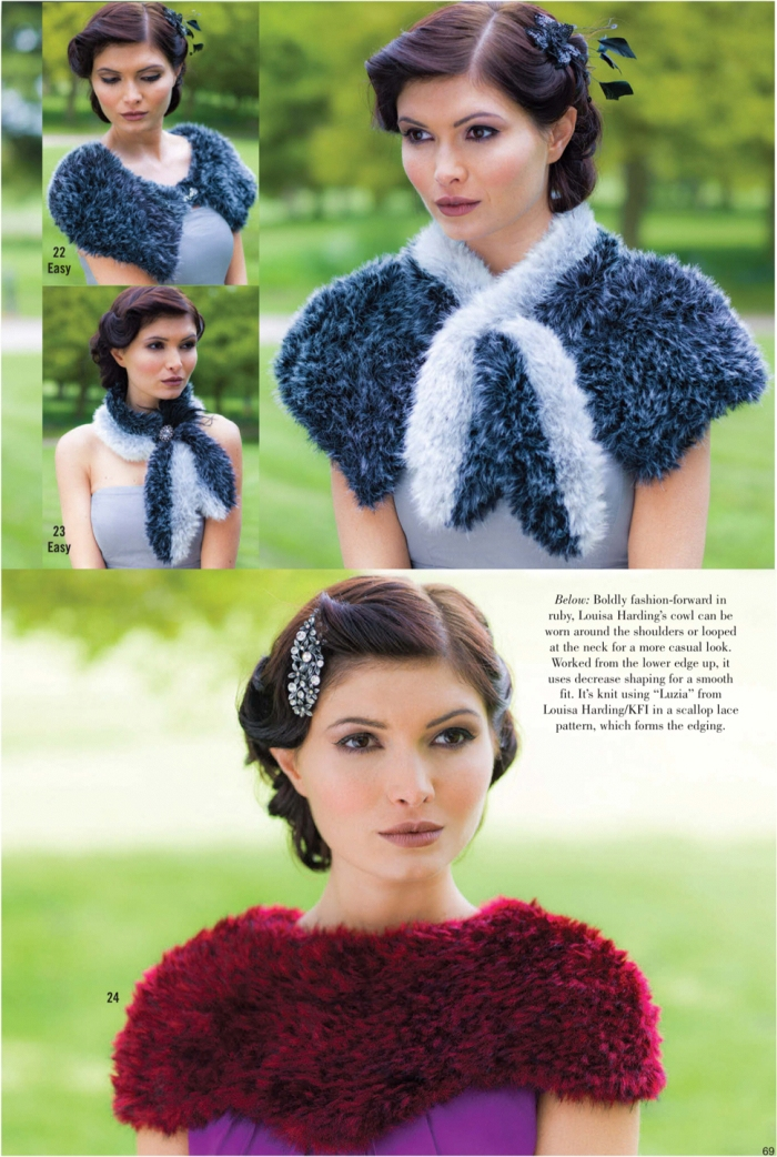 Keyhole scarf and shaped capelet by Louisa Harding (top) Cowl by Louisa Harding (bottom)
