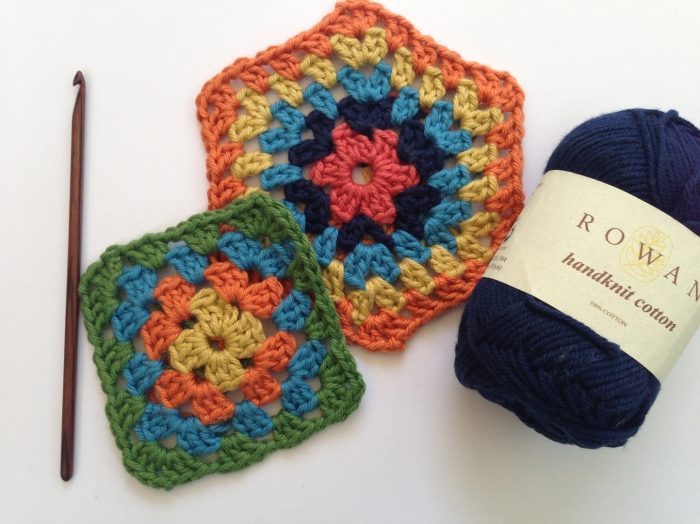 Granny Squares crocheted in the workshop with Heike using Rowan Handknit Cotton