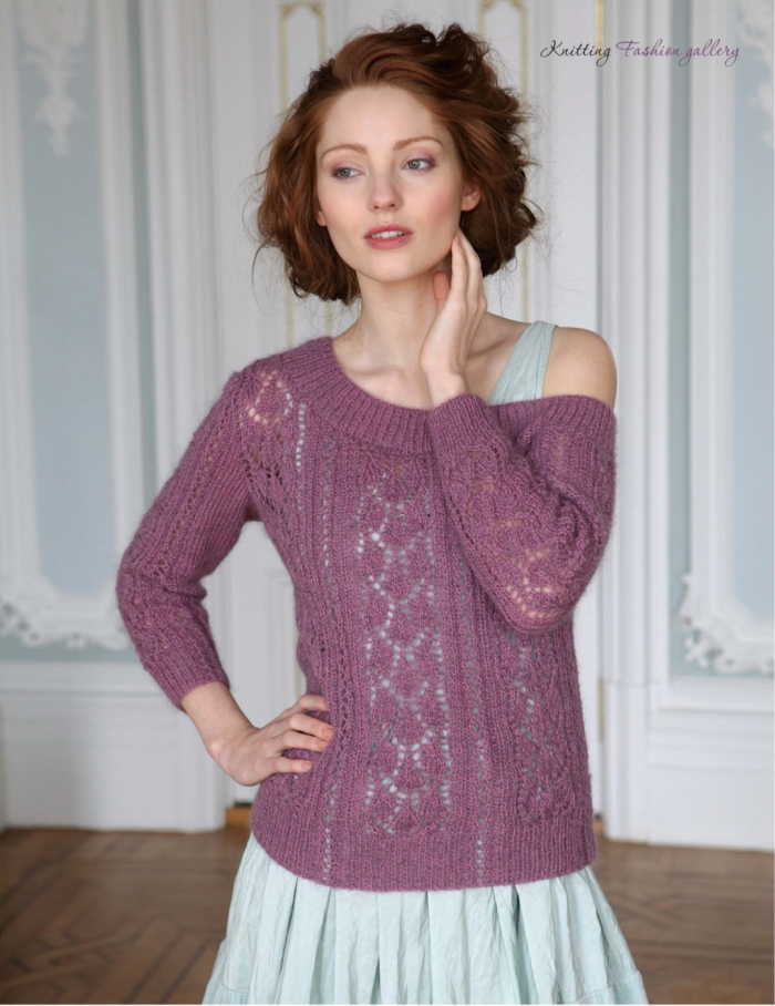 Assymetric Lacy Sweater by Natalie Warner