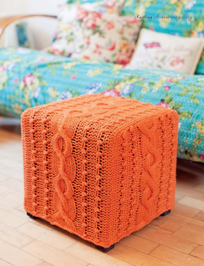 Cabled Pouffe by Sarah Hazell