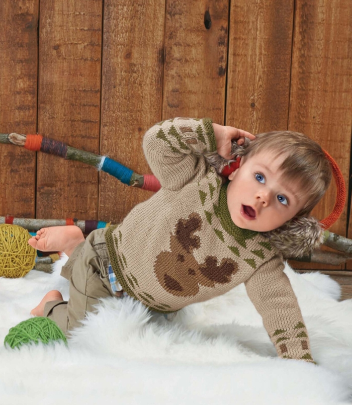 Kid's Reindeer Sweater by Bergère de France