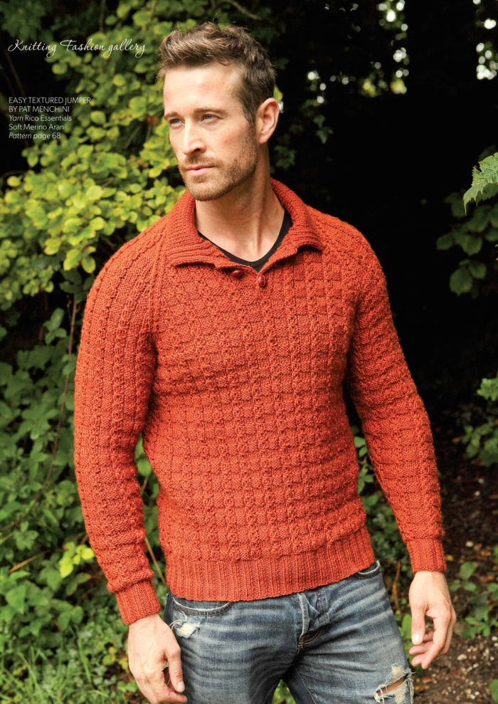 Man's Easy Textured Jumper by Pat Menchini