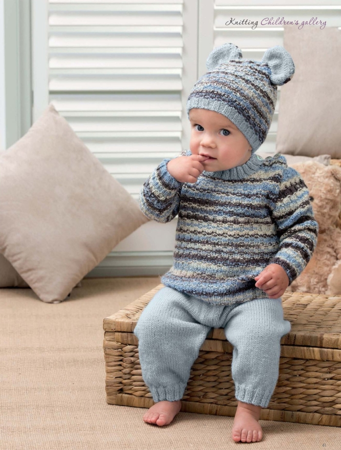 Boy's Jumper and Ear Hat by Patons