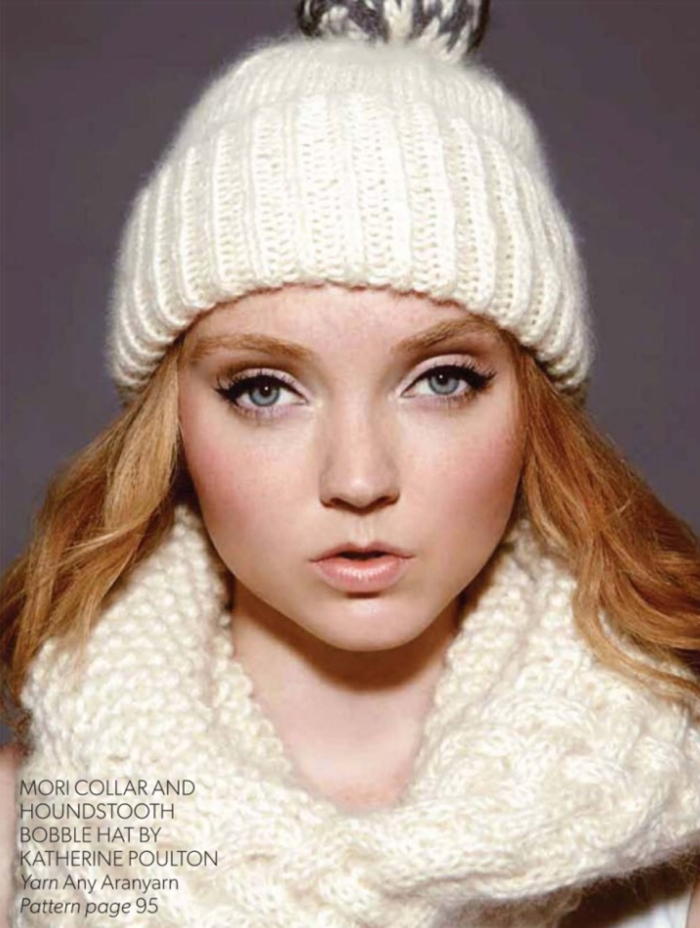 Mori Collar and Houndsthooth Bobble Hat by Katherine Poulton