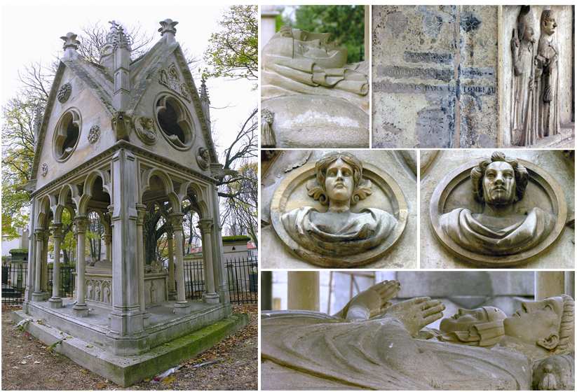 Composite image of various aspects of the tomb of Abélard et Héloïse Photographer: Patrick T. Power, photographed on 19 November 2005