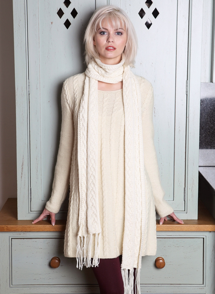 Cable Jumper Dress and Scarf by Sian Brown