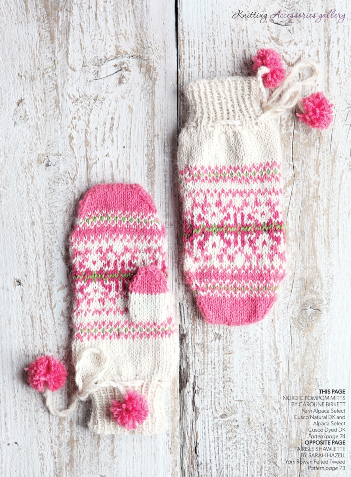 Nordic Pompom Mitts by Caroline Birkett