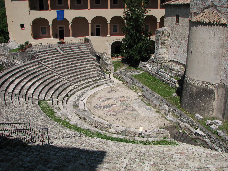 Ancient Roman theatre (Spoleto) by Odoacre (Own work) [Public domain], via Wikimedia Commons
