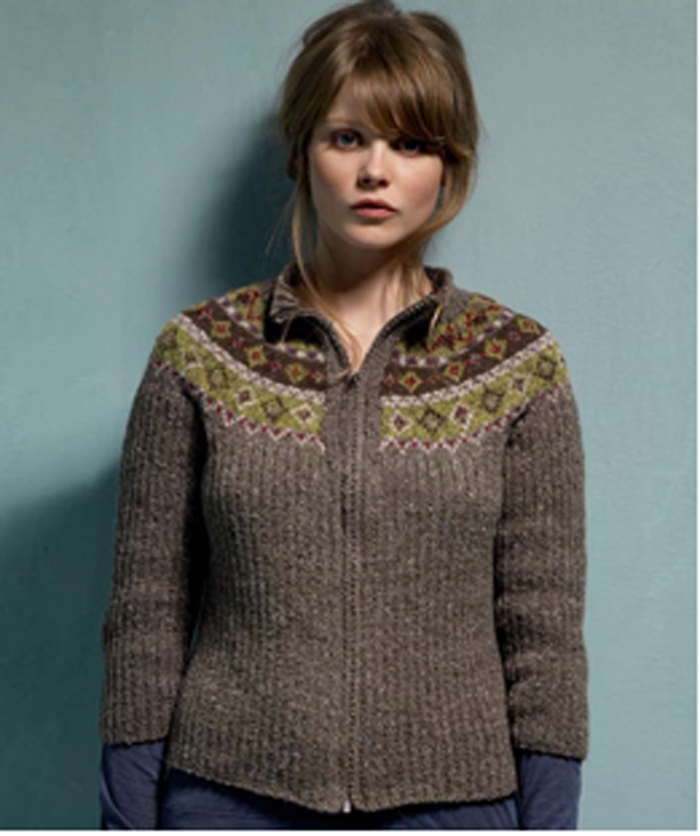 Rib & Fairisle Cardigan by Lisa Richardson