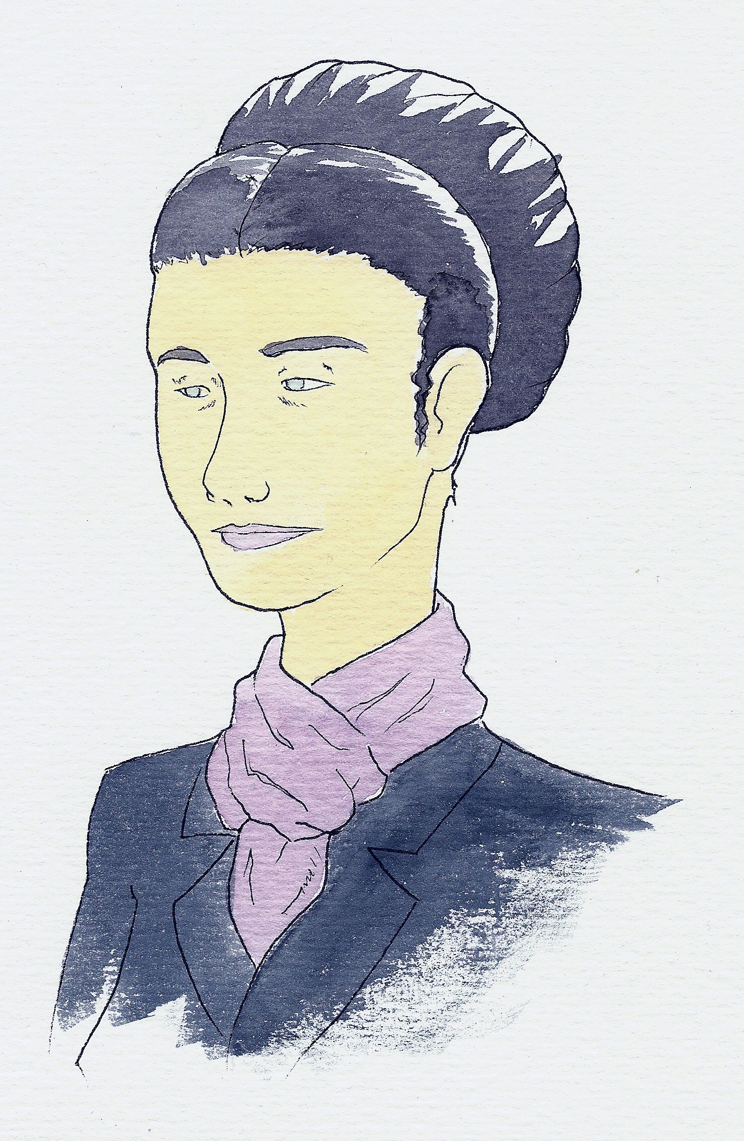 Simone de Beauvoir (1908-1986) french philosopher. Ink and watercolor This image was provided to Wikimedia Commons as a contribution from an Art&Design School thanks of a collaboration between Llotja and Amical Wikimedia.