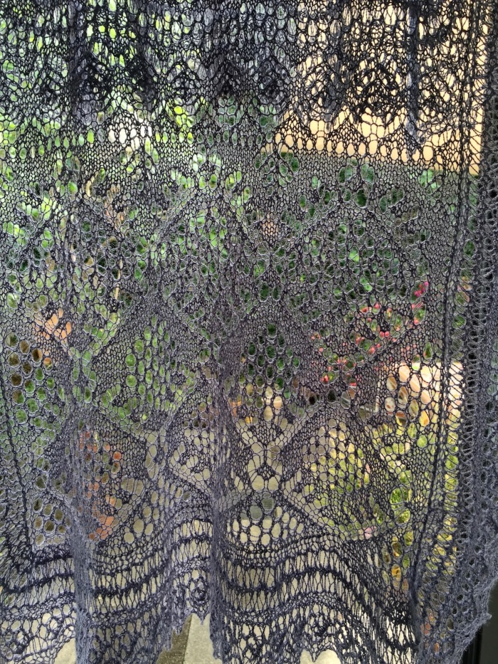 Spiderweb Lace Scarf after blocking
