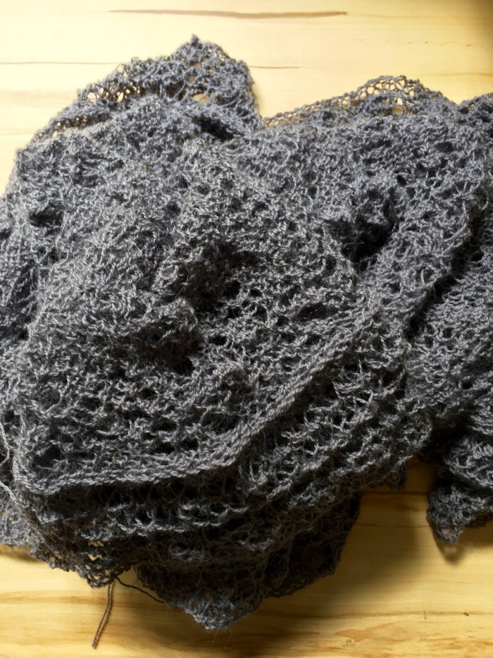 Spiderweb Lace Scarf after knitting